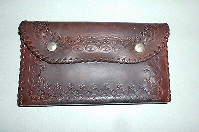 Vintage retro tooled leather purse / wallet