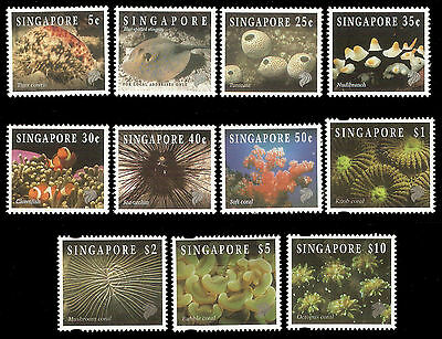 Singapore 1996-7 Reef Life Definitive reprint, complete set to $10, MNH. Scarce!