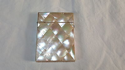 Mother of pearl vintage Victorian antique diamond design card case box G