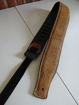 GUITAR STRAP- GENUINE LEATHER PADDED SNAKE EFFECT **BROWN** Elec, Bass, Acous