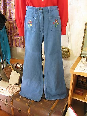True Vintage Brushed Denim Embroidered Flared Jeans Small