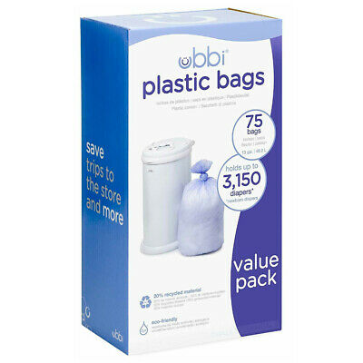 New UBBI BIN ECO Refill Plastic Liner 3 Pack Bags up to 3,150 Newborn Nappies 75