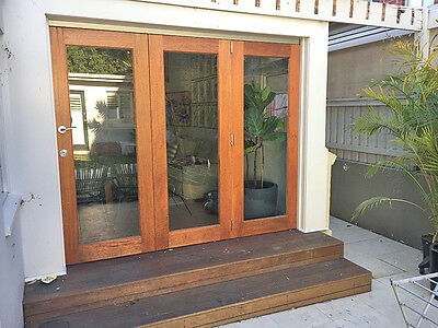 Timber Bi-Fold Stacker Doors, Top-Hung, Stained, Oiled