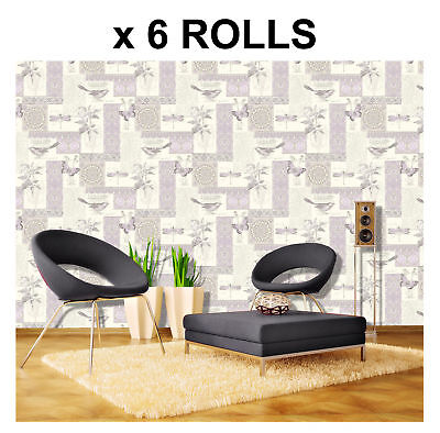 Lilac Birds Wallpaper Butterfly Flowers Floral Collage Effect Provence x 6 Rolls