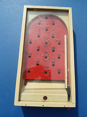 Vintage Wooden Hand Held Chad Valley Bagatelle Pin Table Game