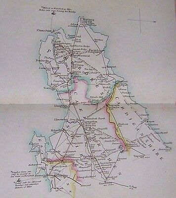 1806 Road Map. Hand Coloured. Caermarthenshire Cardiganshire Pembrokeshire