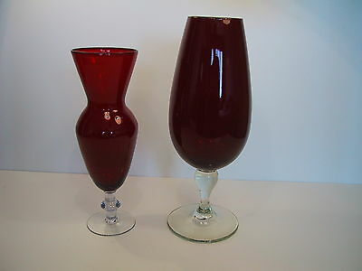 2 Tall Vintage Ruby Glass Vases