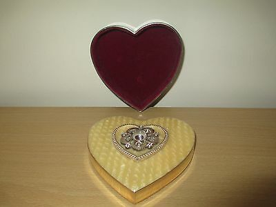 Vintage Heart Shaped Trinket Box with Mother of Pearl Inlay