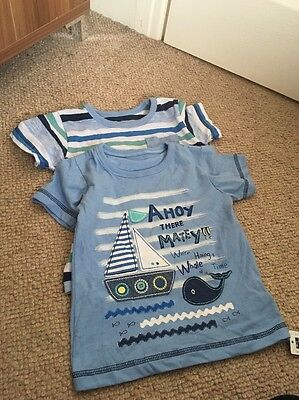 Boys Set If 2 T-shirts Tops Age 12-18 Months BNWT