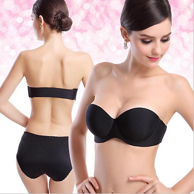 Women Strapless Padded Push Up Bra Invisible Clear Elastic Straps A B C D