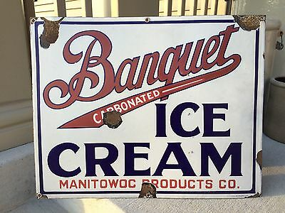 Banquet Ice Cream Vintage Rare Porcelain Dairy Sign Manitowoc Products, WI
