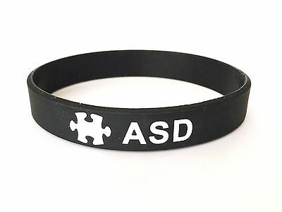ASD Autism Medical Alert Wristband ID Band Black Silicone Men Womens Autistic