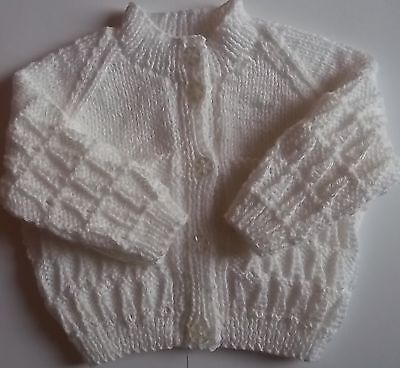 Hand Knit Babies White Cardigan Size 0/3 Months