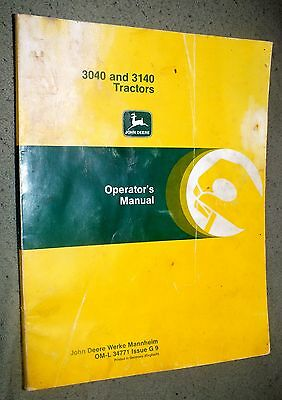 John Deere 3040 3140 Tractor Operators Owners Manual Farming Guide 34771