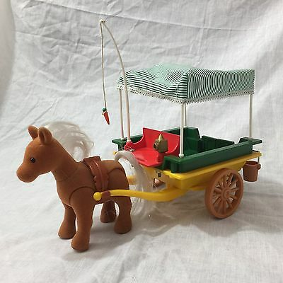 Vintage Original Sylvanian Families Pony and Trap Cart  - Tomy - With Box