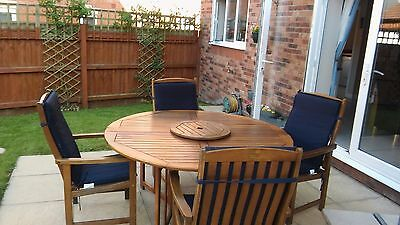 Large wooden Round garden table and 5 chairs