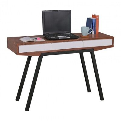 Desk retro walnut 3 drawers wood metal home office laptop table console table