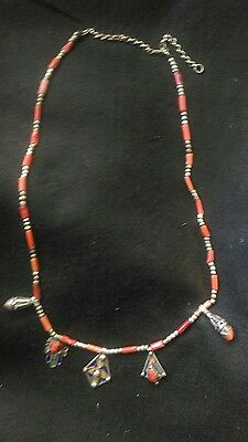Vintage tribal Algerian Kabylie jewelry silver, enamel and coral necklace