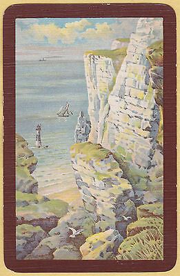 1 Single VINTAGE Swap/Playing Card LANDSCAPE CLIFFS LIGHT HOUSE SHIPS SEA