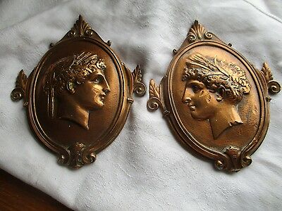 vintage arts and crafts  copper wall plaque x2