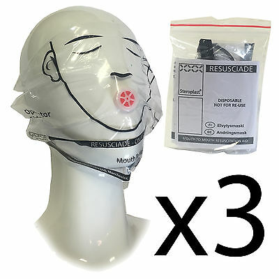 Steroplast First Aid Emergency Mouth to Mouth Ear Looped Face Shields/Masks x3