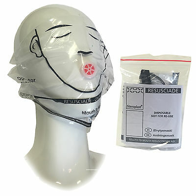 Steroplast First Aid CPR Resuscition Mouth to Mouth Ear Looped Face Mask Shield