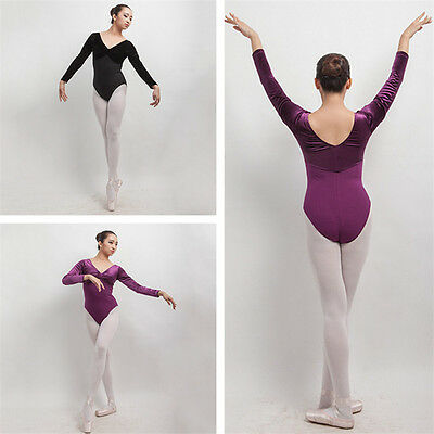 New  adult Girl Long Sleeve Ballet Dance Dress V Neck Dance Training Leotard CA