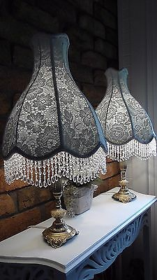 X2 Vintage Lace Fabric Crystal Beaded Lampshade Shabby Chic Antique Table Lamp