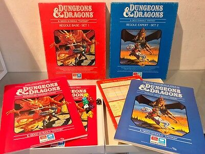 D&D Dungeon and Dragons Set 1 2 Rosso Blu Vintage Ita Eg Giochi Rpg -