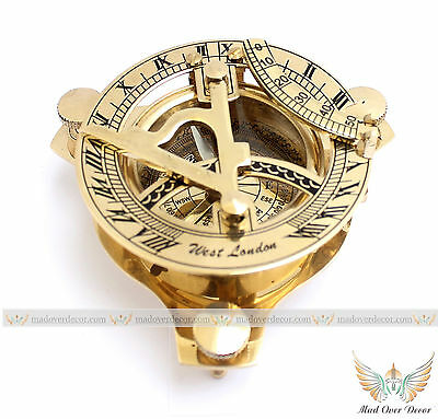 Brass Retro Sundial Compass Maritime Nautical Navigational Magnetic Instrument