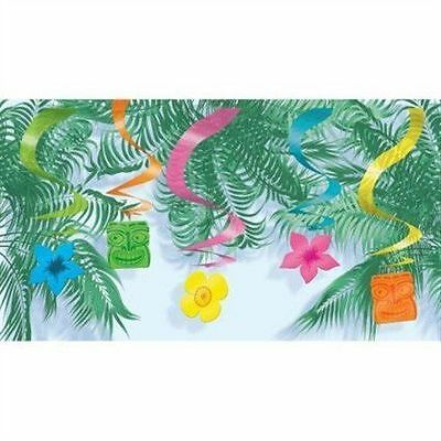 15 Beach/hawaiian/ Party Colourful Tiki Dangling/swirly Summer Party Decoration