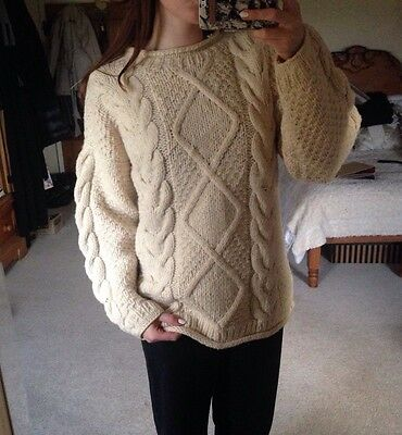 Vintage Knitted Sweater Pullover Jumper Wool Beige