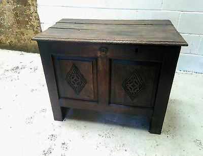 17th/18th Century Carved Oak Coffer. Free local delivery.