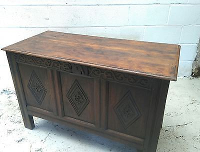 Carved Oak 17th/ 18th Century Antique Coffer / Chest