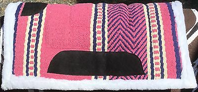 Wool Navajo Saddle Pad Synthetic Wool Backed Blue Pink