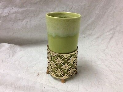 California Pottery Chartreuse Green Drip Glaze.   Tumbler With Gold Cage
