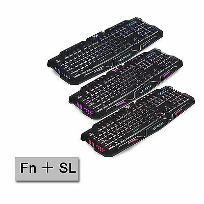 3 Colours LED  Backlit Illuminated USB Gaming Wired Full Size Keyboard UK Layout