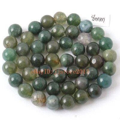 """8mm Smooth Natural Moss Agate Onyx Round Shape DIY Gems Loose Beads Strand 15"""""""