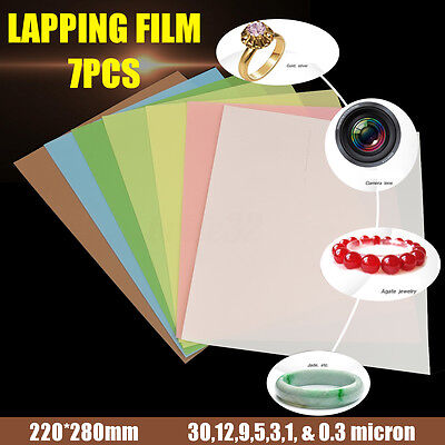 7Pcs 8.7'' x 11'' Lapping Film Sheets 1 Each of 30,12,9,5,3,1, & 0.3 Micron
