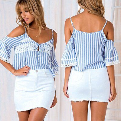 Fashion Women's Lady Summer Off shoulder  Loose Blouse Casual Shirt Tops T-Shirt