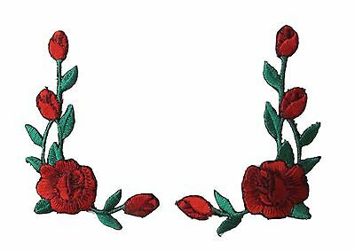 "#5705P 3/""H Pink Rose Flower Embroidery Iron On Appliqué Patch"