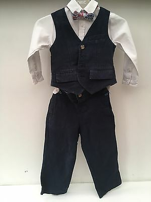 boys 4 piece navy monsoon wedding suit 18-24 months