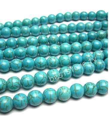 """New Howlite Turquoise Gemstone Round Spacer Loose Beads 16"""" 4mm"""