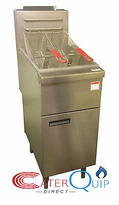 Floor Standing Gas Chip Fryer, Twin Basket, Single Tank,  For Commercial Use