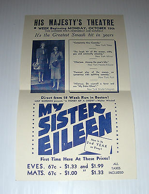 HIS MAJESTY'S THEATRE Montreal ad page for MY SISTER EILEEN prob. 1942