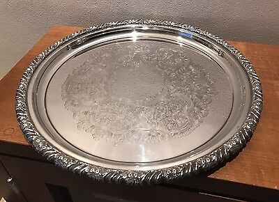 Superb Vintage Silver Plated Tray - Hecworth Reproduction Old Sheffield (35.5cm)