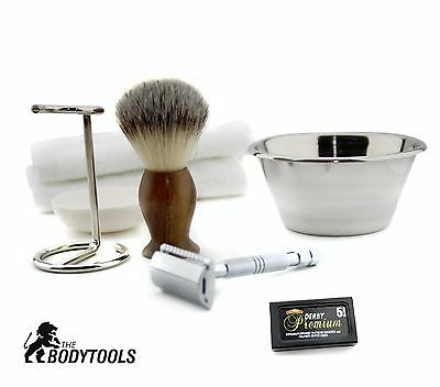 7 PC Shaving Set Silver Double Edge Safety Razor -Natural Shaving Kit For Men's
