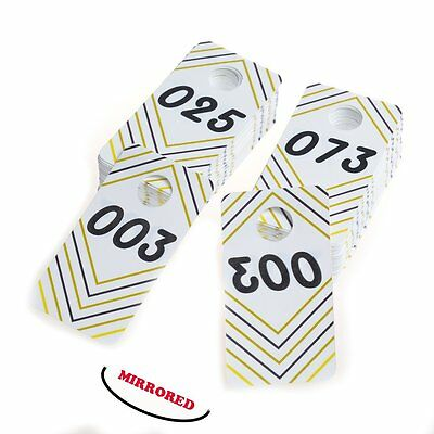 100 Pieces Reusable Waterproof Consecutive 001-100 Live Sale Plastic Number Tags