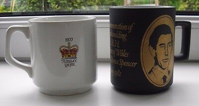 Two Royal Commemorative Mugs - Silver Jubilee and Charles Diana Wedding
