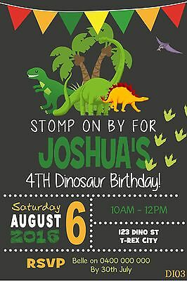 DINOSAURS Personalised Invitations Invite Birthday Party Supplies TREX